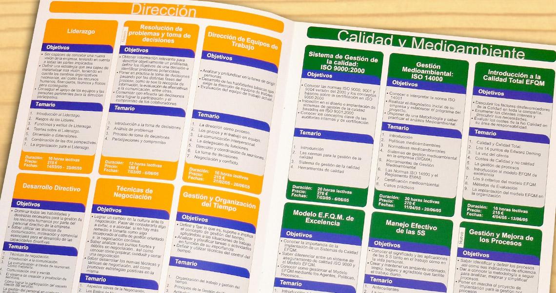 Diseño y maquetación de catálogo de cursos
